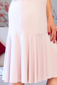 Luxusní béžové šaty s volánkem