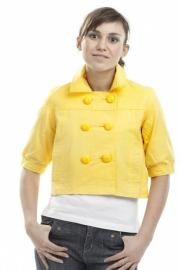 Dámský žlutý kabátek krátký na knoflíky POZOR KAZ