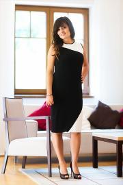 Černo bílé elegantní šaty kožené detaily