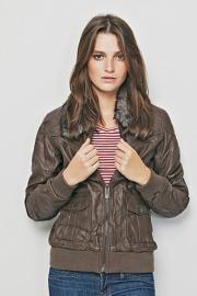 Jarní koženková bunda s kožíškem
